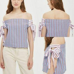 Tie Side Stripe Bardot Top